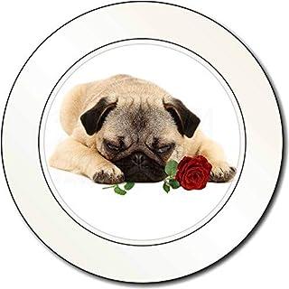 Mops-Hund mit einer roten Rose AutovignetteGenehmigungsinhaber Geschenk