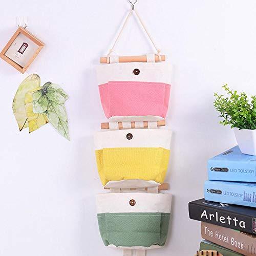 QX-DIMDIM 4 STÜCKE Neue Candy Farbe Tandem hängende Tasche Baumwolle und leinen Aufbewahrungstasche multifunktions Wand Taste hängende Tasche (Color : Multi-Colored)