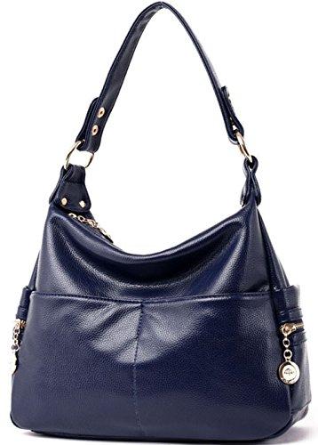 Rovanci Damen Vintage Handtasche Leder fertige Lederhaut Umhängetasche Schultertasche Shopper Taschen große Kapazität Shopper Tasche Blue Navy Blue