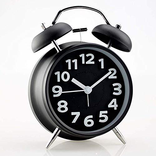 Triplsun-Clock Mini-Klassiker mit klassischem Bett- / Analog-Wecker ohne Hintergrundbeleuchtung, batteriebetriebener Uhr, rundem und lautem Twin Bell-Wecker -