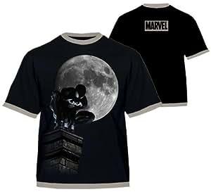 "Spiderman Marvel T-Shirt Noir ""Black Spiderman Lune "" Homme XL"