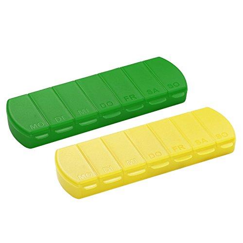 Pillendose 7 Tage Medikamentenbox Tablettenbox BPA-FREI Aufbewahrungsbox mit Deckel für Unterwegs 11 x 4 x 1.4 cm (2er-Set Gelb & Grün)
