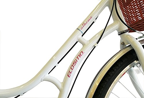 41d7JXTDTzL - ECOSMO 700C Alloy Ladies Women Shop City Road Bicycle Bike 7 SP -28AC02W+basket