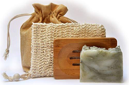 Mijo Naturkosmetik Geschenk Set für Frauen in Jutesäckchen, Pflegeset mit handgemachter Naturseife, Seifenschale & Seifensäckchen umweltfreundlich verpackt Grüne Tonerde - Spirulina