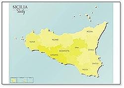 Kühlschrankmagnet, Motiv: Sizilien Karte