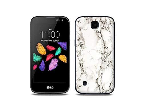 etuo Handyhülle für LG K3 LTE (K100) - Hülle, Silikon, Gummi Schutzhülle - Weißer Marmor
