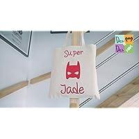 tote bag prénom fille - super héros - tote bag personnalisable - Cadeaux de Noël - décoration de Noël - Cadeaux personnalisés