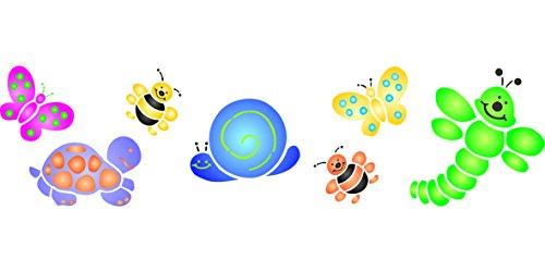 Baby Bugs, (taglia 44,5x 11,5cm) riutilizzabile stencil per pittura-migliore qualità Da Parete Decorazione Idee-Utilizzare su pareti, Pavimenti, tessuti, vetro, legno, terracotta, e più...