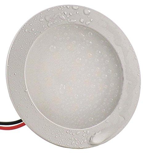 6er Set (5-9er Sets) Einbauleuchte PLANO (rund) extra flach 12 mm SMD LED 0,9W 12V IP67 inkl. Trafo; Warm-Weiß (3.000k); Einbaustrahler Badleuchte Möbelleuchte Feuchtraum Bad (Weiße 13 Fliesen-böden)