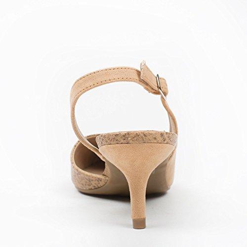 Ideal Shoes–Scarpe decolletée, due materiali, Paloma Marrone