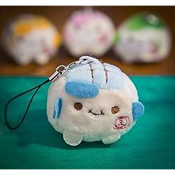 - Talismán/llavero para teléfono Tofu, de 3 a 4cm, kawaii, de peluche, Super Cute, suave Squidgy chinos coloridos. Juguete con expresión cara sonriente, regalo único. Accesorios de lujo para animales azul azul celeste