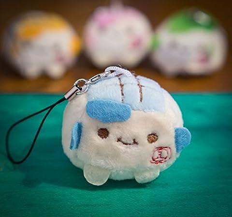 - Adorable breloque Kawaii pour téléphone portable ou porte-clés, peluche douce et colorée, bloc de tofu chinois, expression souriante, 3 à 4cm, dessin animé, animal jouet, accessoire cadeau de luxe à la mode bleu bébé