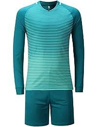 KINDOYO Chicos Hombres Manga Larga Kit de Fútbol Camiseta Pantalones Ropa  Deportiva Traje de c8cff5e12d8d8