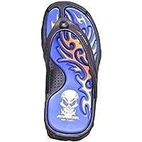 Adda Men's Black Blue synthetic house slippers 9 uk