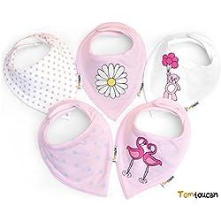 Tomtoucan baberos de bebe - Juego de 5 diseños (Pink Princess)