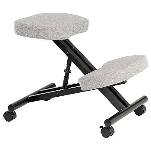 IDIMEX Kniestuhl Kniehocker Sitzhocker Bürohocker Gesundheitsstuhl Robert in grau, höhenverstellbar, bequem gepolstert, rollbar