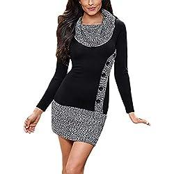 Aleumdr Mujer Vestido de Punto Cuello Redondo Prendas de Punto Vintage Sweater Larga de Otoño Negro Size L
