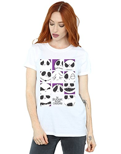 Disney Damen Nightmare Before Christmas Many Faces of Jack Squares Boyfriend Fit T-Shirt Weiß XXX-Large (Waren Einen König Fit Für)
