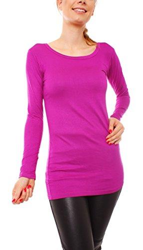 Easy Young Fashion Damen Langarm Basic Longshirt Rundhals Uni Beere