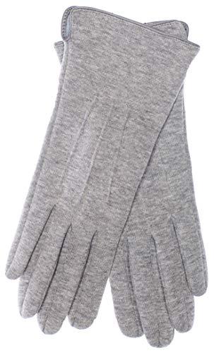 EEM Damen Jersey Handschuhe TIA mit Touch-Funktion aus Baumwolle, stretch, smartphone; grau-meliert