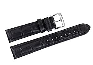21mm Black Luxury Italian Leather Replacement Watch Straps/Bands Grosgrain for Swiss Luxury Watches
