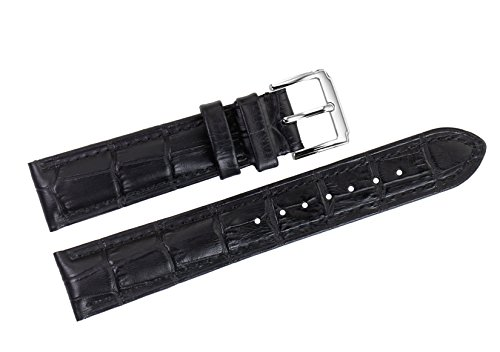19 mm nero cinturini in pelle sostitutiva italiani / band grosgrain imbottita con fibbia ad ardiglione per orologi di lusso