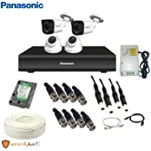 Panasonic 1 MP CCTV Camera kit with 2 Dome Camera, 2 Bullet Camera, 1TB Hard Disk, Power Supply, 4 CH DVR and 90 Meter Cable with Connectors (White)