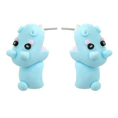 ALCYONEUS Cartoon-Hippo Dog Penguin 3D Animal Cute Soft Ohr Ohrstecker Ohrringe Schmuck - Halloween Club Penguin