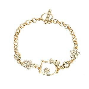 Kiss Me! Süßes Goldenes Topmodel Kinder Fusskette Hello Kitty Strass Länge 16cm Verstellbar Funkelnde Strassperlen