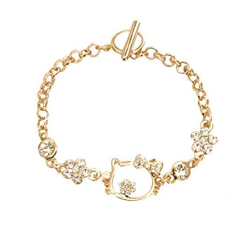Kiss Me! Süßes Goldenes Topmodel Kinder Fusskette Hello Kitty Strass Länge 16cm Verstellbar Funkelnde Strassperlen -