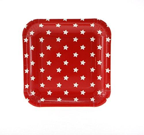 12 Schicke Quadratische Papp-Teller in Rot mit Weißen Sternen (Pappteller Rote Und Weiße)