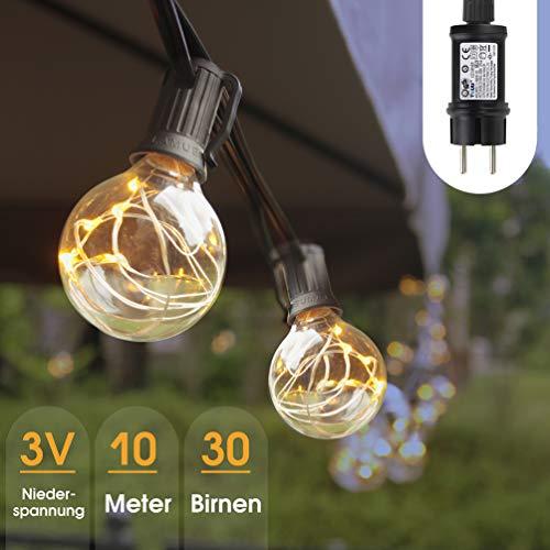Lichterkette Garten, 10M Glühbirne Lichterkette Außen, G40 LED 3 W Weihnachtsbeleuchtung Innen Aussen IP44 Wasserdicht, Weihnachten Beleuchtung 3V Niederspannung, 30 Birnen mit Ersatzbirnen Warmweiß