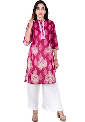 Teej New Fashion Pattern Purple Printed Cotton Work Wear Casual Kurti For Ladies