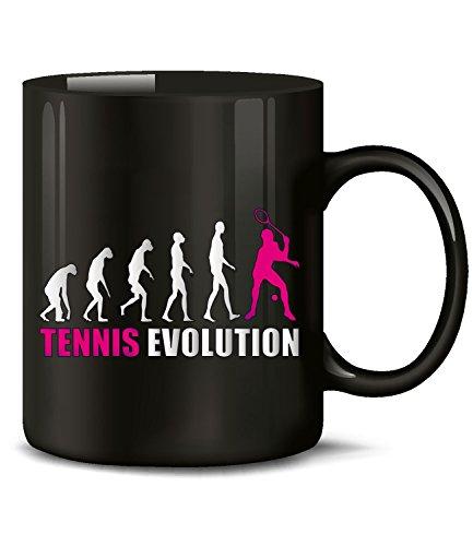 Golebros Tennis Evolution Sport 576 Geburtstag Geschenk Fun Tasse Becher Kaffeetasse Kaffeebecher Schwarz-Pink