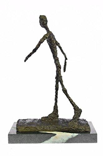 Statua di bronzo Scultura...Spedizione Gratuita...Arte astratta moderna Giacometti Walking Man II base di marmo(XNAB-002-EU)Statue Figurine Figurine Nude per ufficio e casa Décor Primo Giorno Collezi
