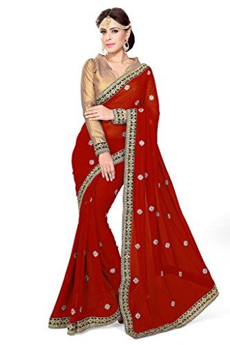 Mirchi Fashion Damen Indian Saree Partei-Abnutzungs Kleid mit Ungesteckt Oberteil/Top Sari (Sari Für Tops)