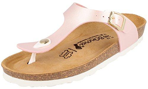 BONOVA Pantoletten Damen 43 Sandalen Ibiza Light-Rose Metallic 43