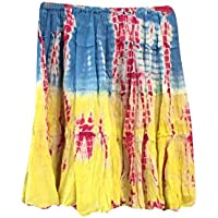 Mogul Interior Mini Skirt Vintage Blue/Yellow Tie Dye Bohemian Gypsy Festive Skirts