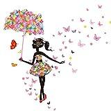 Jamicy® Neuer Schmetterling Blume Fee Aufkleber Baby Mädchen Schlafzimmer Wohnzimmer Wandtattoo (D)