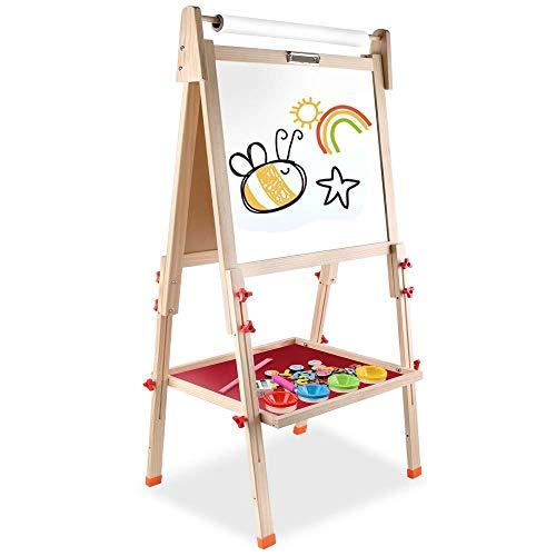 Arkmiido Kinder Tafel holz,schultafel für kinder,standtafel Staffelei Hölzern,Höhenverstellbar Schreibtafel mit Papierrolle,Magnettafel Spieltafel für Kinder,weihnachtsgeschenke für Kinder