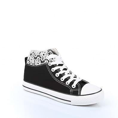 Ideal Shoes - Baskets montantes en toile avec dentelle Capucine Noir 39