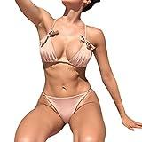 Hevoiok Damen Einfarbige Sexy Bogenknoten Bandge Bikini Set Badeanzug, Zweiteilig Bikinihose Badebekleidung Neue Hipster Frauen Gepolsterter Push-Up BH Bademod (Rosa, XL)