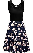 Damen Ärmelloses Beiläufiges Strandkleid Sommerkleid Tank Kleid U-Ausschnitt, knielang und Ausgestelltem Rock Unterteil, einfache Design machen es Mode für immer.  Der weich und atmungsaktiv Stoff ermöglicht dir einen edlen Look mit Wohlfühlpotential...