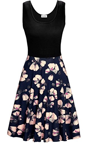 KorMei Damen Ärmelloses Beiläufiges Strandkleid Sommerkleid Tank Kleid Ausgestelltes Trägerkleid Blau Blume (Damen Kleider)