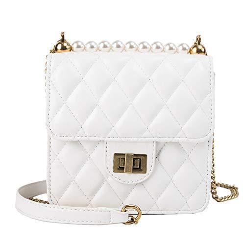 MoHHoM Umhängetasche Damen,Mode Kleine Duft Lässig Perlenkette Schulter Umhängetasche Handtasche Für Damen Leder Wild Messenger Kleine Quadratische Tasche Vertikalen Abschnitt, Cremig-Weiß -