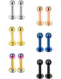 6 Pares 16 Gauge de Piercing de Nariz de Acero Inoxidable Pendientes de Tragus Piercing de Labret Piercings de Cuerpo, 6 Colores