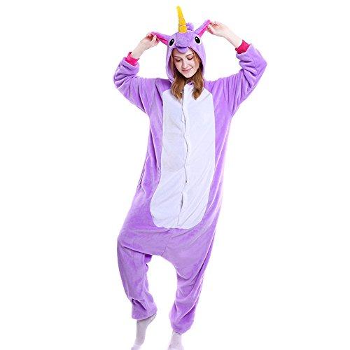 Lila Kostüm Pferd - LSHEL Erwachsenen Tier Pyjama Jumpsuit Cosplay Unisex Cartoon Karneval Halloween Kostüm Fleece Overall Pyjamas, Lila Pferd, L (empfohlene Höhe 165-172 cm)