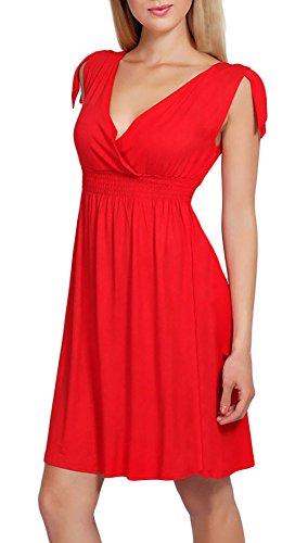 Kleider Damen Sommerkleider Kurz Elegant V Ausschnitt Ärmellos Schulterfrei Vintage Freizeitkleider Strandkleid Rot