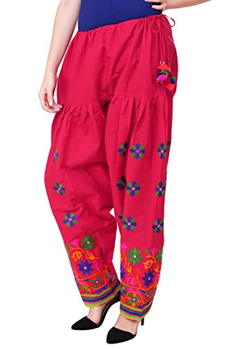 Vastraa Fusion Ethnic Embroidered Ladies Freesize Cotton Salwar - Pink Colour