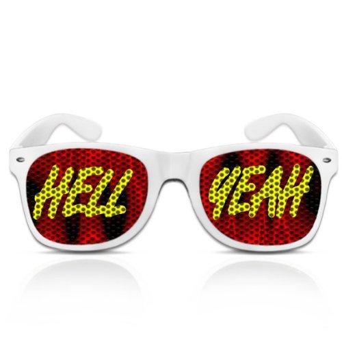 Partybrillen und Promotionbrillen Fasching Spassbrille mygafas - Hell yeah (Weiß)
